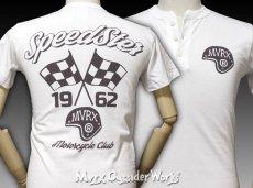 画像2: MVRX 半袖 ヘンリーネックTシャツ SpeedSter モデル / 白 バイク 車 プリント (2)
