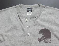 画像6: MVRX 半袖 ヘンリーネックTシャツ GOGGLE モデル / 杢グレー バイク ゴーグル プリント (6)