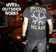 画像8: MVRX 半袖 Tシャツ MOTORHEADS モデル / スミ黒 ブラック バイク 車 プリント (8)