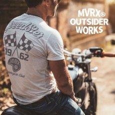 画像1: MVRX 半袖 ヘンリーネックTシャツ SpeedSter モデル / 白 バイク 車 プリント (1)