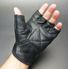 画像4: 手袋 指なし レザー ハーフフィンガー フィンガーレス グローブ 本革 ROTHCO ブランド / ブラック 黒 (4)