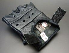 画像5: 手袋 指なし レザー ハーフフィンガー フィンガーレス グローブ 本革 ROTHCO ブランド / ブラック 黒 (5)