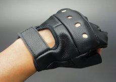 画像3: 手袋 指なし レザー ハーフフィンガー フィンガーレス グローブ 本革 ROTHCO ブランド / ブラック 黒 (3)