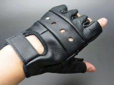 画像2: 手袋 指なし レザー ハーフフィンガー フィンガーレス グローブ 本革 ROTHCO ブランド / ブラック 黒 (2)