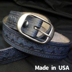 画像2: アメリカ製 レザー ベルト 本革 カービング ベルト 新品 / ブラック 黒 (2)