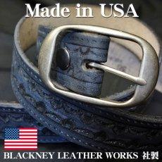 画像1: アメリカ製 レザー ベルト 本革 カービング ベルト 新品 / ブラック 黒 (1)