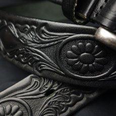 画像3: 日本製 レザー ベルト 本革 カービング ベルト アニリン染 新品 / ブラック 黒 (3)