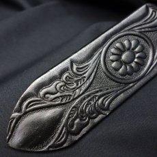 画像4: 日本製 レザー ベルト 本革 カービング ベルト アニリン染 新品 / ブラック 黒 (4)