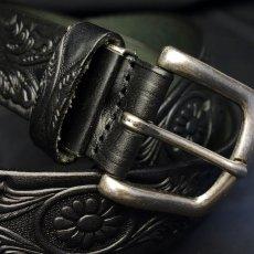 画像6: 日本製 レザー ベルト 本革 カービング ベルト アニリン染 新品 / ブラック 黒 (6)