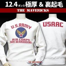 画像1: THE MAVERICKS ミリタリー スウェット トレーナー 12.4oz 極厚手 裏起毛  USAACアメリカ陸軍航空隊モデル ホワイト 白 (1)