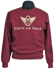 画像5: ミリタリー スウェット トレーナー 10oz 裏起毛 第8空軍エアフォース シャングリラ モデル / レッド 赤 (5)