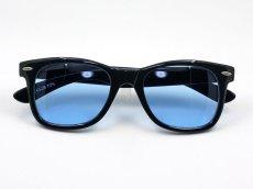 画像4: 送料無料 ウェリントン型 サングラス シンプル ブラック 黒 ライトブルーレンズ 新品 (4)