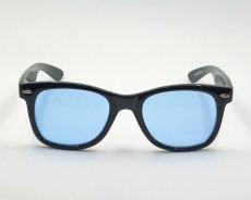 画像5: 送料無料 ウェリントン型 サングラス シンプル ブラック 黒 ライトブルーレンズ 新品 (5)