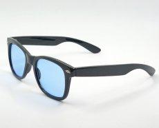 画像3: 送料無料 ウェリントン型 サングラス シンプル ブラック 黒 ライトブルーレンズ 新品 (3)