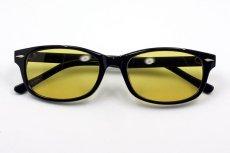 画像3: 送料無料 サングラス ブラック 細め ウェリントン / 黒 ブラック イエロー 黄色 (3)