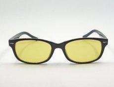 画像5: 送料無料 サングラス ブラック 細め ウェリントン / 黒 ブラック イエロー 黄色 (5)