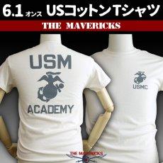 画像1: THE MAVERICKS ミリタリー Tシャツ USMA マリンアカデミー モデル / 生成り ナチュラル (1)