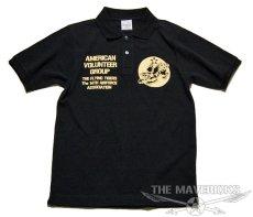 画像2: ミリタリー ポロシャツ 半袖 吸汗速乾 ドライ AVGフライングタイガース 黒 ブラック (2)
