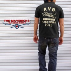 画像4: ミリタリー ポロシャツ 半袖 吸汗速乾 ドライ AVGフライングタイガース 黒 ブラック (4)
