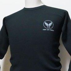 画像8: ミリタリー サーマル 長袖 Tシャツ ワッフル 生地 メンズ 爆弾エアフォース MAVEVICKS ブランド 黒 ブラック (8)