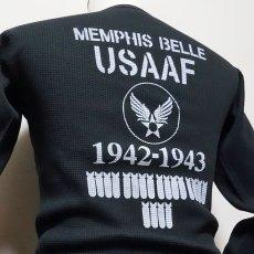 画像9: ミリタリー サーマル 長袖 Tシャツ ワッフル 生地 メンズ 爆弾エアフォース MAVEVICKS ブランド 黒 ブラック (9)