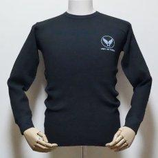 画像2: ミリタリー サーマル 長袖 Tシャツ ワッフル 生地 メンズ 爆弾エアフォース MAVEVICKS ブランド 黒 ブラック (2)