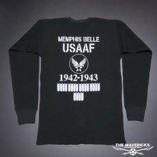 画像7: ミリタリー サーマル 長袖 Tシャツ ワッフル 生地 メンズ 爆弾エアフォース MAVEVICKS ブランド 黒 ブラック (7)