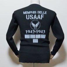 画像3: ミリタリー サーマル 長袖 Tシャツ ワッフル 生地 メンズ 爆弾エアフォース MAVEVICKS ブランド 黒 ブラック (3)