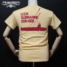 画像3: THE MAVERICKS ミリタリー Tシャツ 米海軍 NAVY サブマリン モデル / クリームイエロー (3)