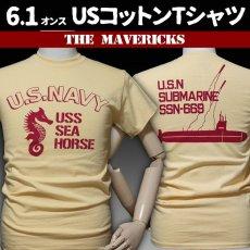 画像1: THE MAVERICKS ミリタリー Tシャツ 米海軍 NAVY サブマリン モデル / クリームイエロー (1)