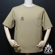 画像2: MVRX ポケット付き ビッグシルエット Tシャツ CAMP GEAR モデル キャンプ Tシャツ カーキ (2)