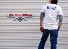 画像7: USAFエアフォース・「THE MAVERICKS」ミリタリーTシャツ・白×紺 (7)