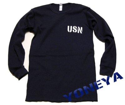画像1: ミリタリー サーマル ワッフル 長袖 ロングTシャツ 米海軍NAVY 黒猫 / ネイビー