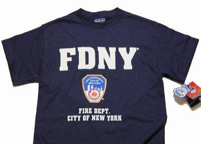 画像1: Tシャツ メンズ ロゴT ニューヨーク市 消防局 オフィシャル ROTHCO ロスコ 社 新品/ネイビー 紺