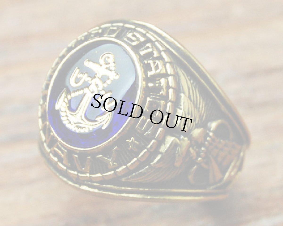画像1: ミリタリーリング 指輪 アメリカ製 US.NAVY 米海軍 18KT 新品 / ゴールド 金 (1)