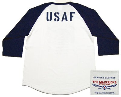 画像2: USAFエアフォース・7分丈ラグラン袖Tシャツ・白×紺