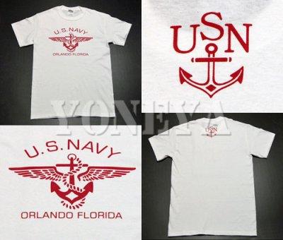 画像3: アウトレット品!U.S.NAVY・錨マーク「THE MAVERICKS」Tシャツ・白ボルドーXS