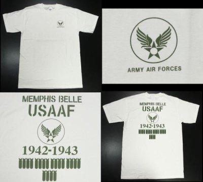 画像2: Tシャツ ミリタリー 半袖  爆弾エアフォース メンフィスベル ロゴT / ホワイト 白
