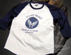 画像4: USAFエアフォース・7分丈ラグラン袖Tシャツ・白×紺 (4)