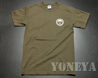 画像1: ミリタリーTシャツ 半袖 AIRBORNE エアボーン パラシュート部隊 オリーブドラブ