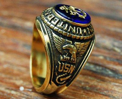 画像2: ミリタリーリング 指輪 アメリカ製 US.NAVY 米海軍 18KT 新品 / ゴールド 金