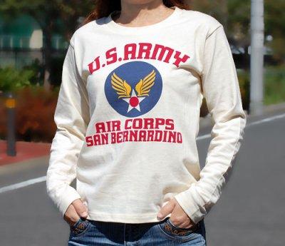 画像3: レディース・USAAC・アメリカ陸軍航空隊1940モデル長袖Tシャツ・生成り