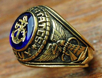 画像1: ミリタリーリング 指輪 アメリカ製 US.NAVY 米海軍 18KT 新品 / ゴールド 金