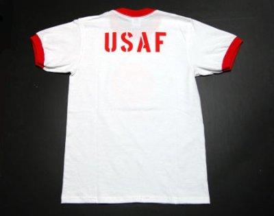 画像1: USAFエアフォース・「THE MAVERICKS」トリムTシャツ・白×赤