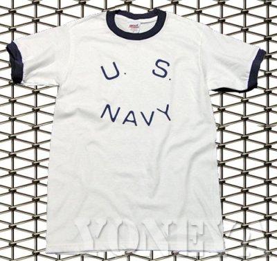 画像1: Tシャツ US NAVY 米海軍  ロゴ ミリタリー トリム リンガ ー Tシャツ / 白 紺 ネイビー