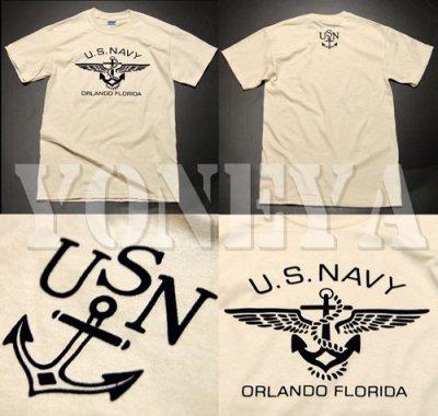 画像2: U.S.NAVY・錨マークTシャツ・フロッキープリント・生成り