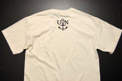 画像1: U.S.NAVY・錨マークTシャツ・フロッキープリント・生成り