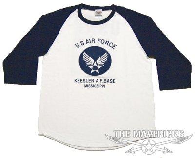 画像1: USAFエアフォース・7分丈ラグラン袖Tシャツ・白×紺