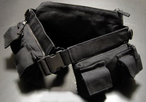 画像1: ウェストバッグ メンズ ミリタリー ヒップバッグ キャンバス地 ROTHCO ロスコ 社製 7ポケット 新品 / ブラック 黒 (1)