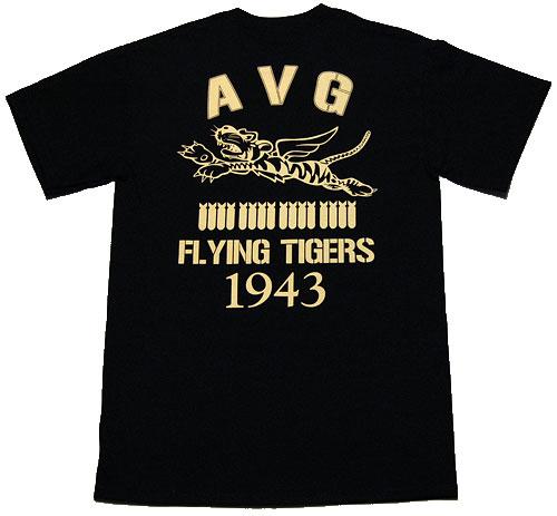 画像1: AVGフライングタイガース「THE MAVERICKS」ミリタリーTシャツ・黒 (1)